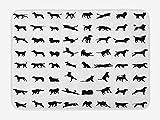 EJjheadband Black and White Bath Mat, Different Silhouettes Dogs Various Breeds Corgi Golden Retriever Pitbull, Plush Ba