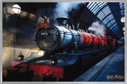 Harry Potter 1art1 Poster et Cadre (Plastique) - Poudlard Express, Train, Gare (91 x 61cm)