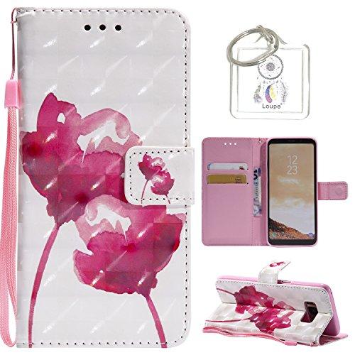 für Galaxy S8 (5,8 zoll) Hülle, Retro 3D Muster PU Leder Hülle Wallet Case Folio Schutzhülle in mit Standfunktion Karteneinschub und Etui Flip Case Schutzhüllen +Schlüsselanhänger (P) (8)