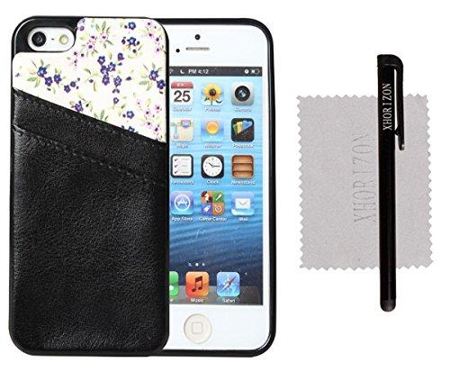 xhorizon® Hohe Qualität TPU und Leder Weich Case Hülle Brieftasche Kartenhalter Tasche für iPhone 5 5S Schwarz+Blume