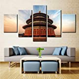 hlonl Kein Rahmen Wandkunst BilderWohnzimmer Hd Gedruckt 5 Panel Imperial Palace Landschaft Dekoration Poster Moderne Malerei