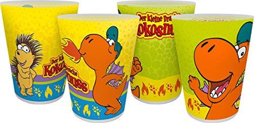 Drache Kokosnuss Der Kleine Mehrwegbecher 4er Set Mehrwegtrinkbecher, Kunststoff, Mehrfarbig, 8 x 8 x 10,5 cm, 4 -Einheiten