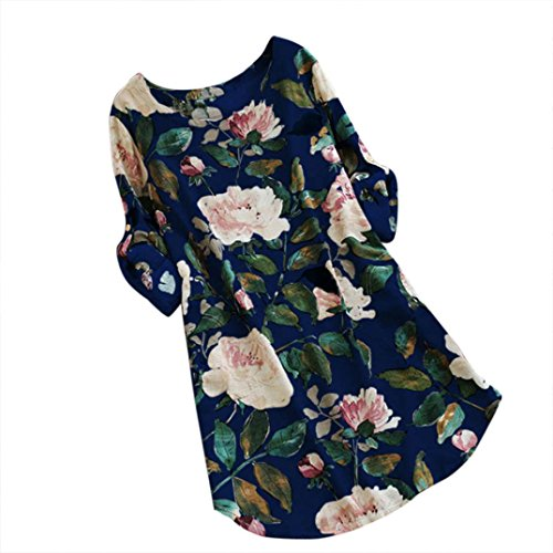 UFACE GroßEr Hof Baumwolle und Leinen Kleid Drucken Lose Frauen Blumendruck Minikleid Sommer Party Langarm Plus GrößE (5XL, Blau)