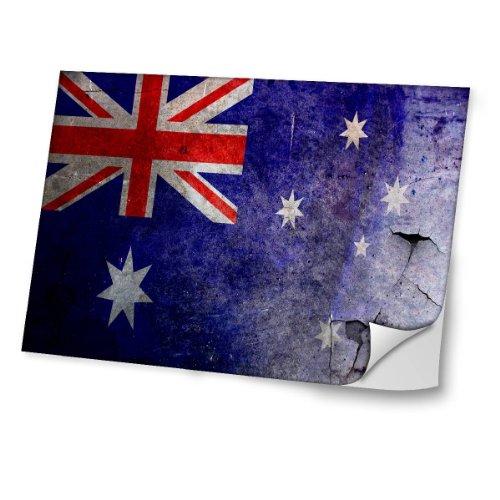Flagge Australien 2, Weltkarte, Skin-Aufkleber Folie Sticker Laptop Vinyl Designfolie Decal mit Ledernachbildung Laminat und Farbig Design für Laptop 12.5