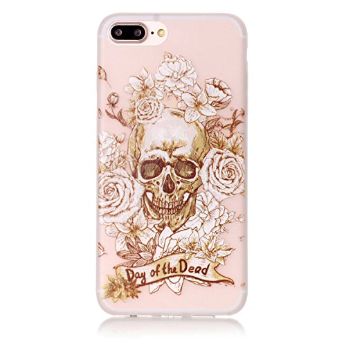 Voguecase® Pour Apple iPhone 7 Plus, Noctilucent TPU avec Absorption de Choc, Etui Silicone Souple Transparente, Légère / Ajustement Parfait Coque Shell Housse Cover pour Apple iPhone 7 Plus (arbre ve Fleur et crâne 04