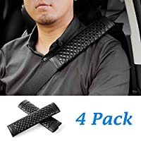 Avoalre Seatbelt Pad Strap Cover Harness Car Shoulder Pads 4 per Pack Universal Comfortable Car Seat Cushion Pad for Adults and Kids - Black