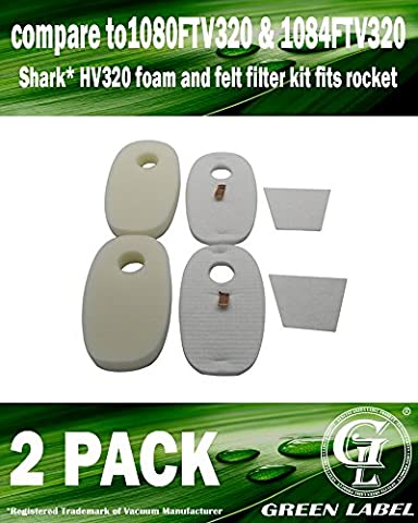 2 PACK For Shark Vacuum Cleaners Foam, Felt and Post-Motor Filter Kit (Compares to 1080FTV320, 1084FTV320). Genuine Green Label product.