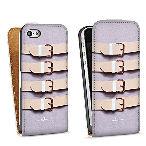 Apple iPhone 5s Housse Étui Protection Coque Boucles lilas Cuir Mode Sac Downflip blanc