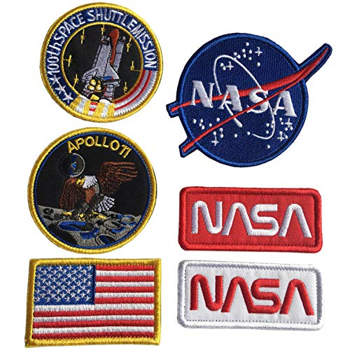 Nasa Kostüm Bestickte - 6 Stück Taktische Flagge Patch - Space Fans USA NASA Patch bestickt Morale Lot Militär Gestickte Patches A-Hook and Loop Fasteners Backing