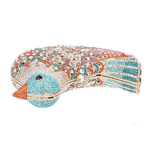 Bonjanvye Glitter Rhinestone Bird Clutch Purses Evening Clutch Bag for Girls Rose Gold lake blue