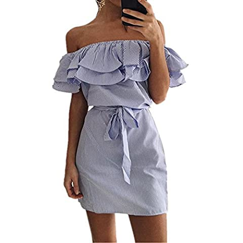 Efanr Sexy Women's Off Shoulder Ruffle Butterfly Sleeve Striped Dress with Belt (S, Blue)