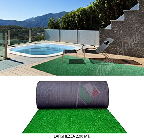 Tata Home Erba Sintetica Prato Artificiale Giardino Sintetico Calpestabile Drenante Antiusura e Resistente Altezza Filo 9 mm. Colore Verde Larghezza 200 cm Lunghezza 10 metri