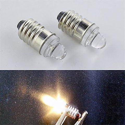 Ruiandsion de voiture lumière LED E10Blanc chaud 4300K négatifs Terre lampe torche spot LED bulb light lamps DC 3V 20lm 0,1W 2PCS
