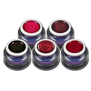 5x 5ml Rot Farbgel Set Farb Metallic und Glitter Gele Premium Colorgel Nagelgel für Nageldesign