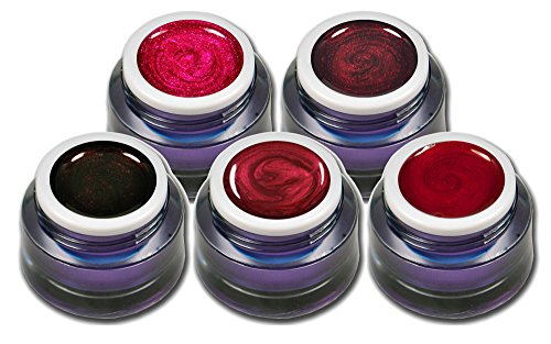 Farbgel Set Rot Metallic und Glitter Premium Gele Colorgel Nagelgel für Nageldesign 5er Pack (5 x...