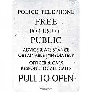 Dr Who Police Box Small Metal Door Or Wall Sign