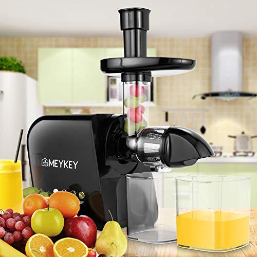 Entsafter Slow Juicer, 1500W Entsafter Gemüse und Obst, langsam Drehender Entsafter und Saftauffangbehälter und Reinigungsbürste, Ruhiger Motor & Umkehrfunktion, BPA Frei