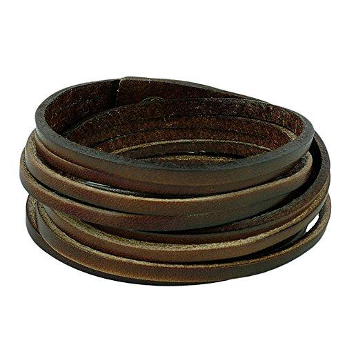 Original Tribe Moda Punk Rock più strati di cuoio degli uomini delle donne del braccialetto del braccialetto del polsino del Wristband Sl2447 (Brown)