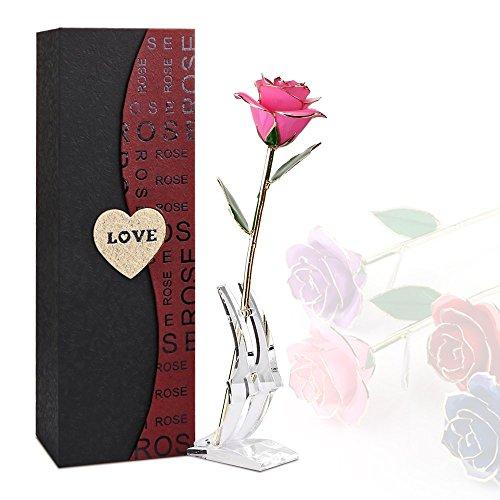 ogene Rosen-Blume mit transparentem Stand Vorzüglicher Geschenk-Kasten Bestes Geschenk für Valentinstag Muttertag Weihnachtsgeburtstag Rosa / Rot / Lila / Blau (Rosa+ Stehen) ()