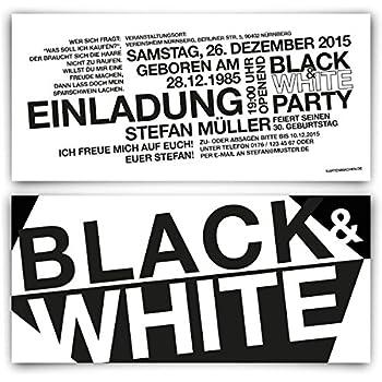 Einladungen (40 Stück) zum Geburtstag - Schwarz Weiß