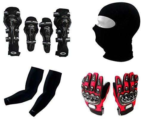 Auto Pearl Premium Quality Bike Accessories Combo Of AXO Motorcycle Racing Rider Elbow And Knee Guard Pads Protector Gear Black. & Balaclava Black Face Mask For Bike Riding Sunscreen Dust Proof Mask. & Arm Sleeve for Protection against Sun, Dust and Pollution Black 2 Pcs. & Pro Biker Skid Proof Full Finger Racing Gloves Red 1 Pair.  available at amazon for Rs.2111