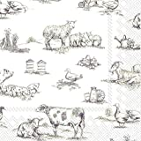 FARM FAMILY white brown Farm Animals IHR luxury traditional paper lunch table napkins 20 in pack