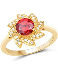 Johareez Gold Plated Fashion Statement Orange Solitaire Cubic Zirconia Ring For Women