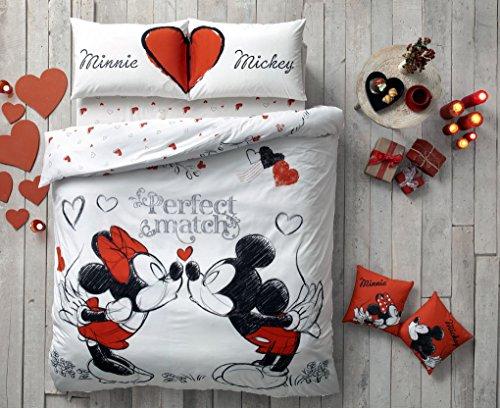 """Juego de ropa de cama de edredón, de Mickey y Minnie (oficial) con texto """"Perfect Match"""", de 4 piezas, de algodón Ranforce, cama doble tamaño Queen"""