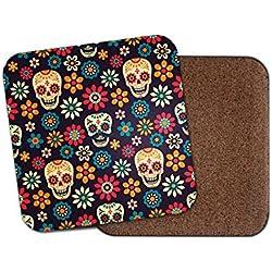 Cool Sugar Skulls posavasos – flores calavera mexicana bonito regalo divertido # 8780