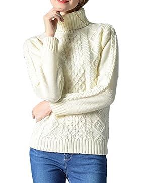 ZhuiKun Suéter Jersey de Manga Larga Alta Cuello Pullover para Mujer