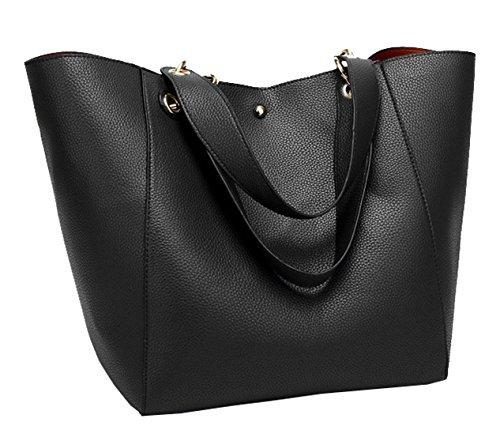 Tibes Art und Weise faux Leder Damen Handtaschen große Tragetasche Schwarz (Faux-leder-handtasche Geldbörse Tasche)