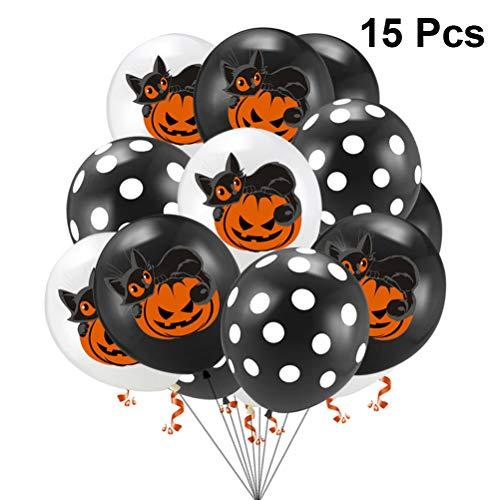 TOYANDONA 30pcs Halloween Ballon Set Weiß Schwarz Cat Dot Printing Latex Ballon für Halloween Theme Party Birthday Supplies ohne Band (Party Supplies Theme Halloween)