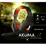 Sumvision Akuma PC Console PS4/Xbox one/PS3/Xbox 360 Fibre Optical Digital Sound Gaming Headset Headphone Earphone Wired with Detachable Microphone In-line Remote USB Connection for PC, Laptop, Playstation