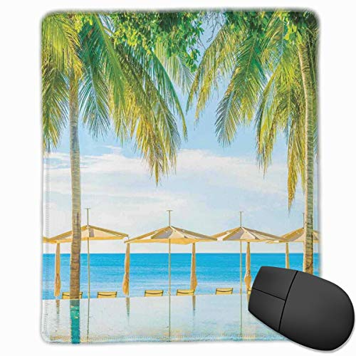 dges, Exotic Beach With The Pool Nature With Soft Light Sun Rays Fantastic Holiday Theme,Gaming Mouse Pad Non-Slip Rubber Base ()