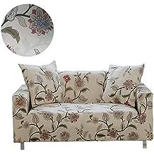 ENZER Funda de sofá Tejido Elástico Flor Pájaro Sofá Proteger Cubre sofá 3 Plazas(190-230cm),Vid de la flor(Flower Vine)
