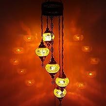 Turque Marocain Style Tiffany Mosaïque De Verre Chandelier 5 Ampoule - OR6_neuf X 5 Chandelier