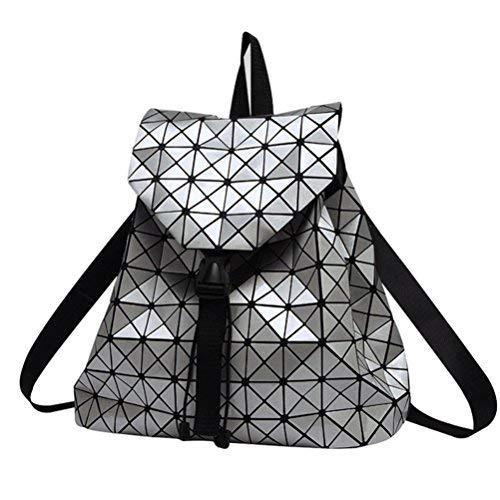 Honeymall Geometrisch Lingge Laser Quadratische Form Sequins Rucksack Daypack Backpacks Freizeitrucksack Schulrucksack Schultasche(Silber) -