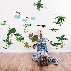 Walplus AY7008 Paquete combo de dinosaurio grande, más JM8195, adhesivo mural de dinosaurio, multicolor