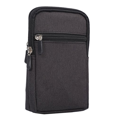 "DFV mobile - Universal Multi-functional Vertical Stripes Pouch Bag Case Zipper Closing Carabiner for =>      APPLE IPHONE 6 [4,7""] > Brown (17 x 10.5 cm) Black (17 x 10.5 cm)"