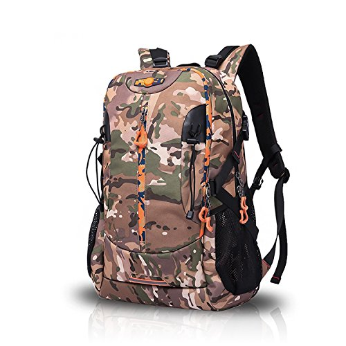 FANDARE Rucksäcke Schultasche Reisen Wanderrucksäcke Sporttasche Outdoor Camping Herren Wasserdicht Großer Kapazität Oxford Polyester 48L Camo Camo