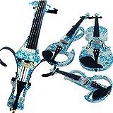 Aliyes Bois Violon électrique Taille complète 4/4Advanced intermédiaire Silent pour violon électrique (Blanc et bleu Fleurs) (Alkit-004) ALDSDT-1201