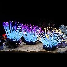 Anémonas luminosas artificiales de silicona de varios colores para decoración de acuario ...