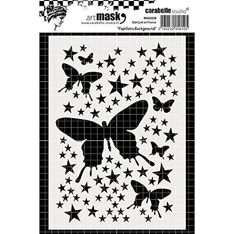 """Carabelle Studio """"Farfalle Sfondo Maschera Stencil, colore: bianco/trasparente, formato A6"""