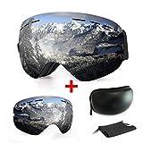 Skibrille, mit Beschlag- und UV-Schutz, für Wintersportarten, Snowboardbrille mit austauschbarer, sphärischer Dual-Linse, für Männer, Frauen und Jugendliche, für Schneemobil-, Skifahren oder Skaten, Silver + white