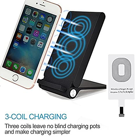 3 bobines LED Qi chargeur induction sans fil Plater Pliable Comb Chargeur Station de recharge station d