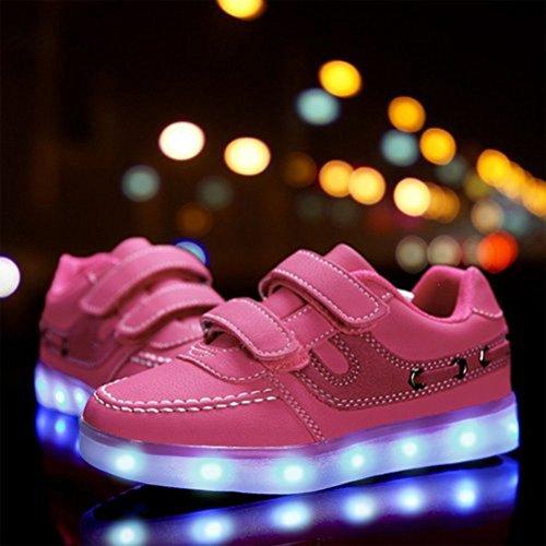 (Présents:petite serviette)JUNGLEST® 7 couleurs Unisexe Enfants LED Rechargeable Light-up Chaussures de sport USB Charge lu Rose