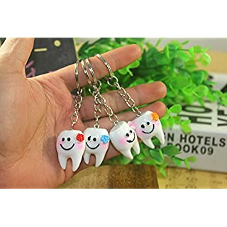 Airgoesin 20pcs Keychain Key Ring Hang Tooth Shape Cute Promo Dental Gift