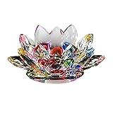 Sunsline 7 Farben Kristallglas Lotus Blume Kerze Teelichthalter Buddhistischen Kerzenhalter (Bunt)