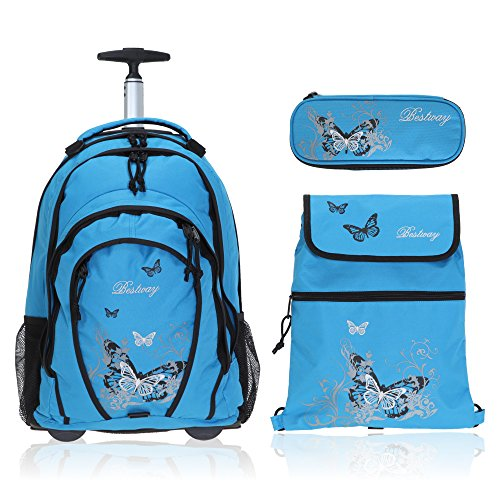 Bestway Rollin Folding Trolley Set Rucksacktrolley/Sport Bag/Pencil Case and Rain Protector, Butterfly / Türkis (Turquoise) - 80261-2500
