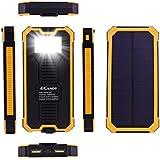 Ecandy 15000 mAh de copia de seguridad de batería solar del banco de la energía de doble puerto USB, con linterna LED cargador solar 8 para el iPhone Samsung Galaxy S6, S6, Borde S5, S4, S3 de la tableta del teléfono celular. (15000mAh amarillo)